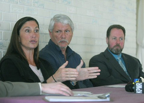 On Monday, January 25, 2010 homeless professionals and advocates held a news conference calling attention to the crisis of homeless deaths on the streets of Santa Barbara. Speakers (L to R) Dr. Lynne Jahnke, Ken Williams, and Mike Foley