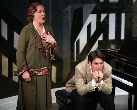 Neva Rae Powers as Florence Foster Jenkins. Edwin Cahill plays her reluctant accompanist, Cosme McMoon.