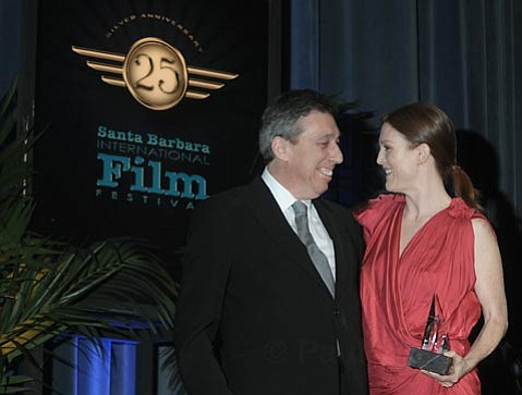 Ivan Reitman presenting Julianne Moore with the 2010 SBIFF Montecito Award ceremony Feb. 11, 2010