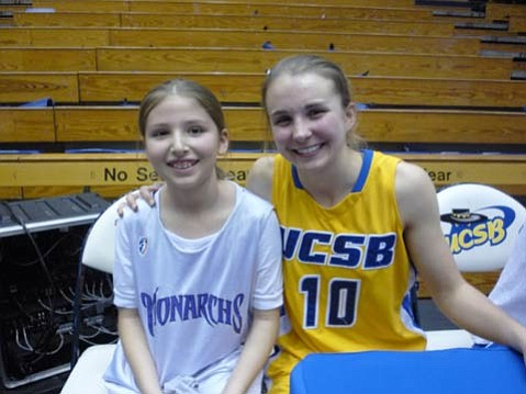 Third grader Ally Mintzer with UCSB player Emilie Johnson.