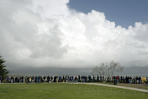 Saturday Feb. 27, 2010 With a tsunami warning in effect stemming from the 8.8 magnitude earthquake that occurred the day before in Chile, crowds gathered en masse at Shoreline Park to watch, from a safe distance, the possible results to the Santa Barbara coastline.