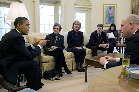<strong>HEAVY HITTER SIT-DOWN:</strong>  Lois Capps (third from left) in a health-care pow-wow with President Barack Obama, along with Representatives Allyson Schwartz (D-PA, second from left) and Ron Kind (D-WI) and White House staffer Nancy-Ann DeParle. Joe Crowley (D-NY) shown in foreground.