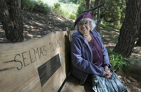 March 22, 2010 Selma Rubin at El Captain Canyon Resort sits at a bench dedicated to her in 2007 for her years of work protecting the Gaviota Coast