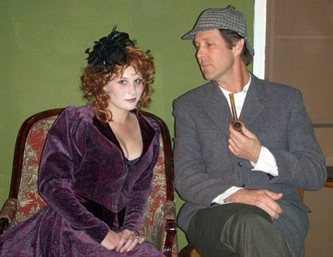 Hannah Wolf as Liza Moriarty and Sean O'Shea as Sherlock Holmes in <em>Sherlock's Last Case</em> at Circle Bar B Dinner Theatre.