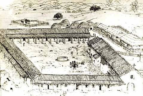 The Mission Santa Barbara in the early stages of development (c. 1800), as conceived by Russell A. Ruiz.