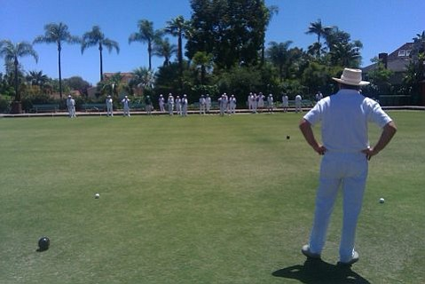 British lawn bowlers compete at the Mackenzie Park Lawn Bowls Club
