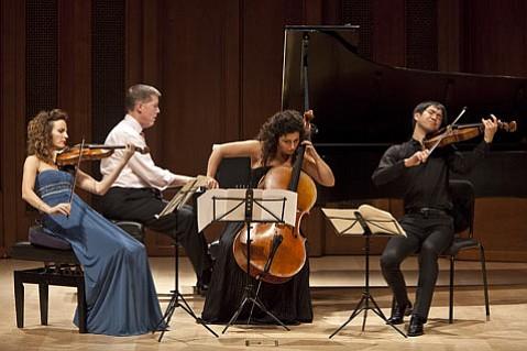 Catherine Leonard, Warren Jones, Ani Aznavoorian, and Richard Yongjae O'Neill performing Schumann's <em>Quartet in E-flat Major for Piano and Strings, Op. 47</em>.