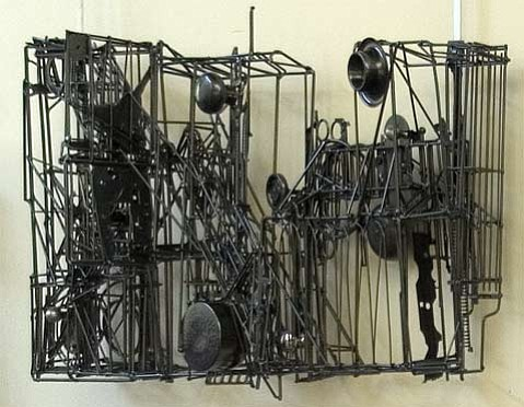 One of Max Neufeldt's welded metal sculptures.
