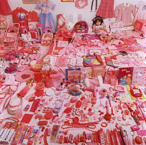 JeongMee Yoon's <em>Seo Woo and Her Pink Things</em>, from <em>The Pink & Blue Project</em> (2005–2008).