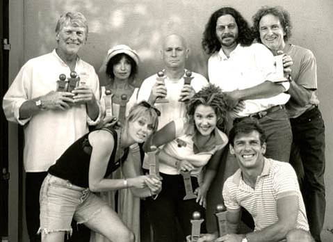 Some early adopters of the Center Stage Theater space in Paseo Nuevo, the creative team from TAG's Indy Award-winning 1998 production of The Tempest: (from left to right) George Backman, Barbara Lackner, Emma Jane Huerta, James Donlon, Faline England, Jim Connolly, Jay Jagim, and Peter Lackner.