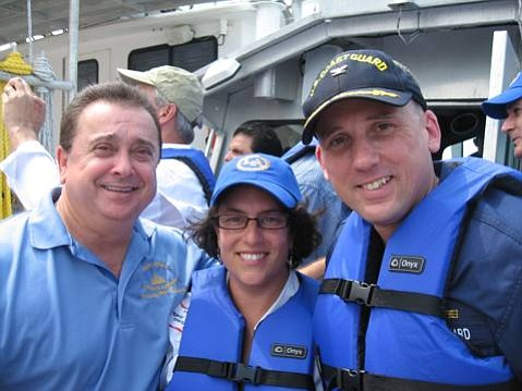 From left to right: Laffite Mayor Kerner, Santa Barbara Mayor Schneider, and Coast Guard Incident Commander Laferriere