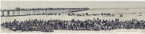 Hundreds of motorcyclists gather at Pismo Beach, California in 1929