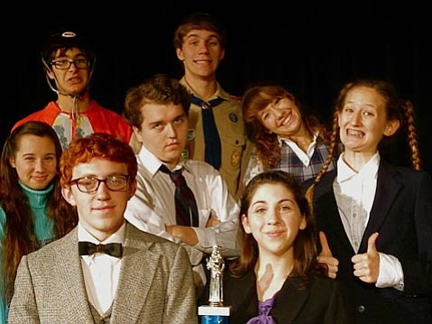 "The ""acouchi"" cast of <em>The 25th Annual Putnam County Spelling Bee</em>, clockwise from top left: Phillip Hodgson (Leaf Coneybear), Parker Wright (Chip Tolentino), Evan Bell (William Barfée), Albee Rothman (Douglas Panch), and Heather Dell (Olive Ostrovsky)."