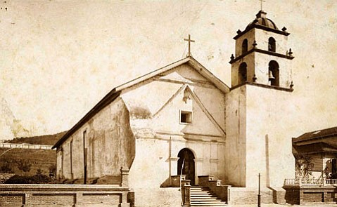 Mission San Buenaventura, damaged in the 1857 earthquake.