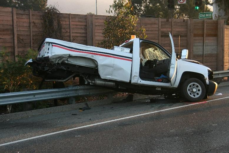 The Verizon pickup truck driven by employee Mark Selander after the accident. The collision was so violent, said CHP officers, that the rear axle and driveline were torn from the vehicle.