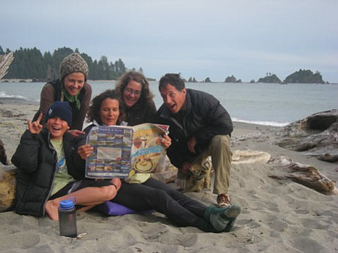 County planner Kathy Pfeifer during a recent backpacking trip to the Olympic Peninsula coast in Washington with her son Zac and friends/former S.B. residents Gilda and Ben Wheeler and Ara Erikson.