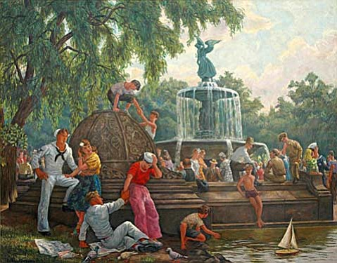 """Central Park, Bethesda Fountain"" by Henry Schnakenberg."