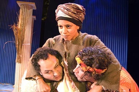 From left : Andrew Ross Wynn as a shepherd, Carolyn Ratteray as Autolycus, and David Glaseer as the shepherd's son in Theater 150's <em>The Winter's Tale</em>.