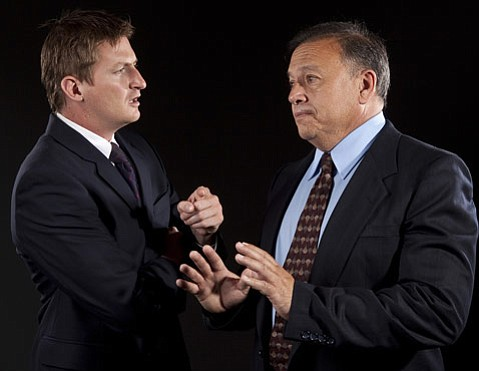 Justin Stark as David Frost (left) and Ed Giron as Richard Nixon in <em>Frost/Nixon</em>.