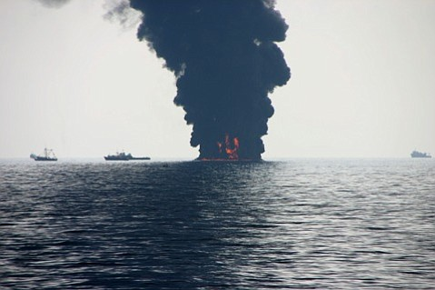 During his voyage into the Gulf of Mexico to study ocean-dwelling microorganisms, UCSB's Dr. David Valentine also witnessed firsthand oil cleanup in the area. Some surface burns, like the one seen here, had flames that reached up to 40 feet into the air and sent down large amounts of particulates.
