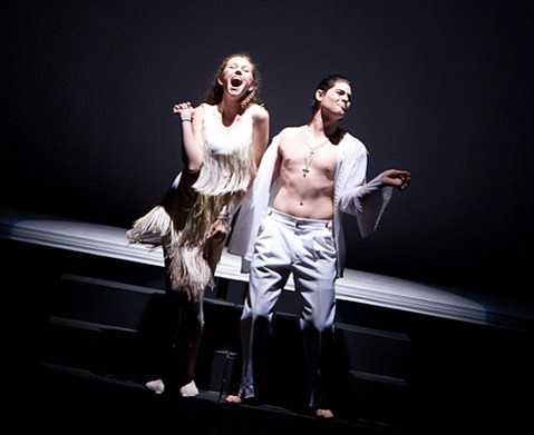 Chiara Perez del Campo as Lady Capulet and Jake Himovitz as Capulet enjoy a dance together at the Capulet ball in Proximity Theatre Company's <em>Romeo and Juliet</em>.