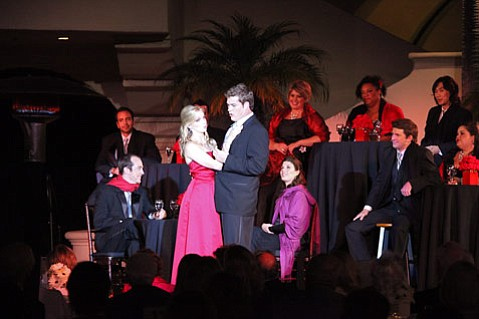 """Mezzo-soprano Julia Dawson and bass-baritone Brandon Cedel singing a medley of """"I've Never Been in Love Before"""" and """"Baby It's Cold Outside"""" at the Music Academy of the West's <em>Cabaret</em>."""