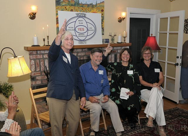 SBCC Board member hopefuls met with approximately 40 people at a private home on the Mesa to discuss the candidacy. L to R: former mayor Marty Blum, former SBCC and UCSB Global Studies professor Peter Haslund, Marsha Croninger, and certified public accountant and SBCC parent Lisa Macker.