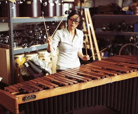 Percussionist Ji Hye Jung will perform four pieces with Camerata Pacifica on Friday, including a world premiere of Bright Sheng's duet <em>Hot Pepper</em> with Catherine Leonard on violin.