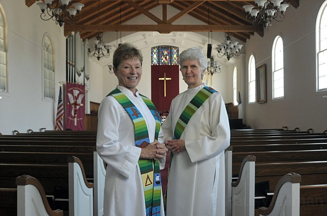 <strong>HEEDING THE CALL:</strong>  Patricia Sandall (left) officially entered priesthood during a June ceremony, and Jeanette Love (right) will be ordained herself on Sunday, September 12. Members of an international movement called Roman Catholic Womenpriests, the two say their desire to serve God and the community is stronger than the threat of excommunication as decreed by church law.