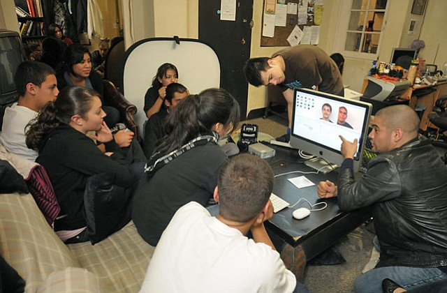 Osiris Casteñeda (far right) and Youth CineMedia