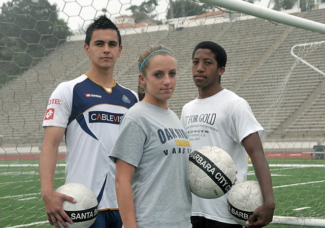 <strong>from left:</strong> SBCC soccer standouts Roberto Santana, Jessica Domenichelli, and Chijioke Aranotu.