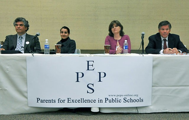 <strong>GUARDIANS OF EDUCATION:</strong>  The four candidates in this year's Santa Barbara School Board election — (from left) Dean Nevins, Monique Limón, Kate Parker, and Loren Mason — recently took part in a debate at the Faulkner Gallery.