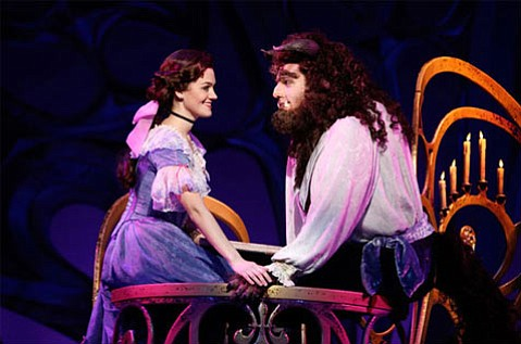 Liz Shivener as Belle and Justin Glaser as Beast.