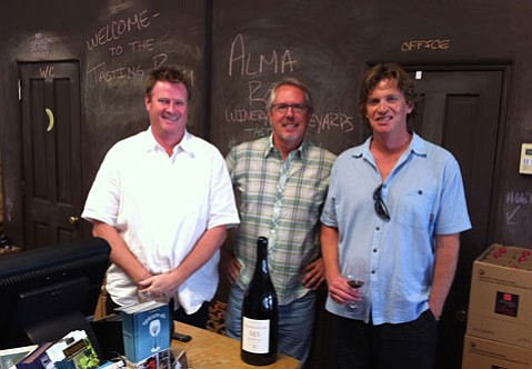 (from left to right) Aaron Watty, Wine Director, Doug Margerum, Winemaker (and part owner of Wine Cask), and David Mallen of Mr. Picky.