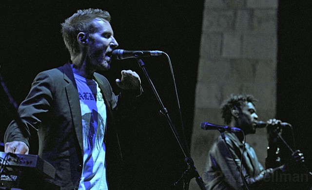 Massive Attack's Robert Del Naja (left) and Grant Marshall reworked old hits and new compositions during their Friday-night stint at the Bowl.