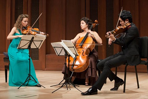 Catherine Leonard, Ani Aznavoorian, and Richard Yongjae O'Neill performed Beethoven's String Trio in G Major, Op. 9, No. 1.