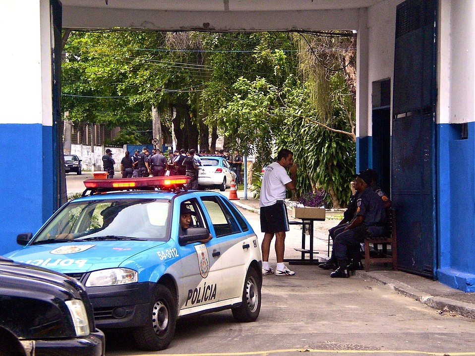 A peek inside one of many battalions of the Rio de Janeiro State Police shows a threatening scene. Any day now military police, which are much more heavily equipped than these civilian police, will enter another favela in hopes to replace bandido control with police control.