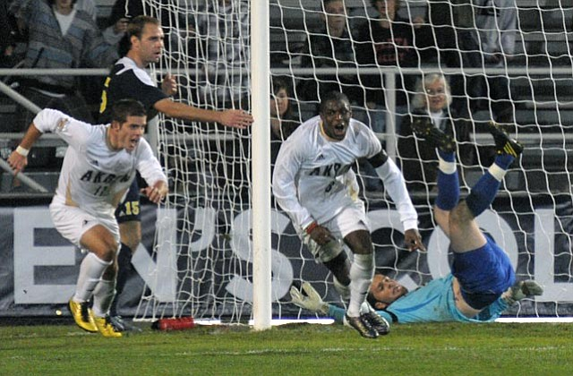 12/10/10 at UCSB's Harder stadium the NCAA College Cup Men's Soccer Semifinals, game #2, Akron defeats Michigan 2-1