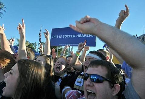 NCAA Soccer Men's College Cup championship Akron fans celebrate Dec. 12, 2010