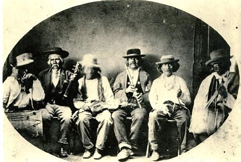 Chumash musical group, Mission San Buenaventura, early 1860s.
