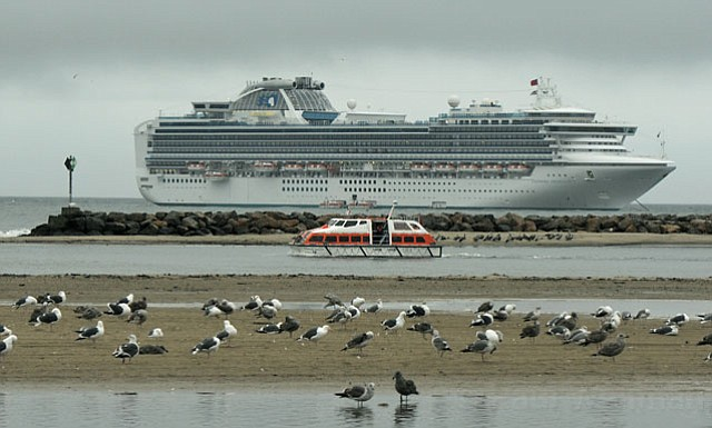 Sapphire Princess cruise ship drops anchor for the day off the coast of Santa Barbara, CA Dec. 19, 2010