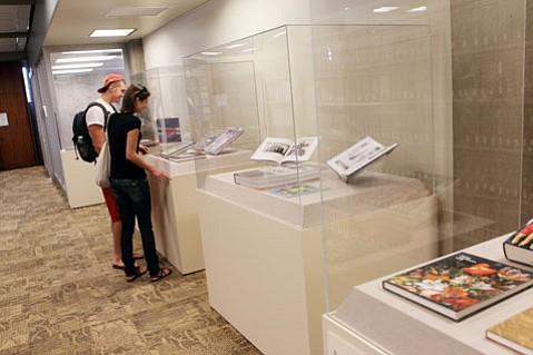 The art books on display.