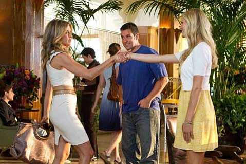 <strong>SAME OLD SANDLER:</strong>  Adam Sandler cashes in on his familiar onscreen persona in <em>Just Go with It</em>, about a plastic surgeon who gets his assistant (Jennifer Aniston, left) to pose as his divorcée-to-be to cover up a lie he told his twenty-something girlfriend (Brooklyn Decker).