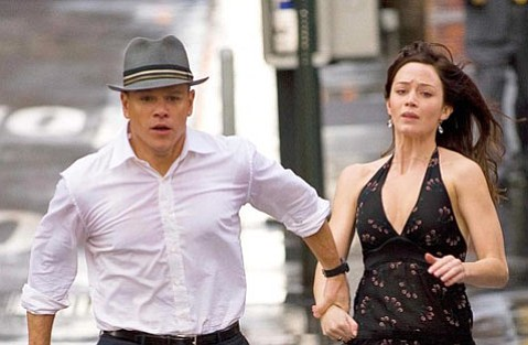 <strong>STAR-CROSSED LOVERS:</strong>  Matt Damon and Emily Blunt play a couple trying to outrun and outwit celestial forces controlling their destinies in <em>The Adjustment Bureau</em>.