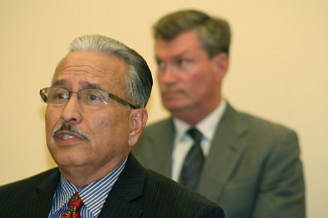 <strong>FIGHTING CRIME:</strong>  Police Chief Cam Sanchez (left) and City Attorney Steve Wiley unveiled the proposed gang injunction on Tuesday.