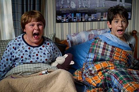 "<strong>REVENGE OF THE WIMPS:</strong>  Zachary Gordon (right) plays ""wimpy kid"" Greg alongside Robert Capron as his buddy Rowley in the family-friendly sequel <em>Diary of a Wimpy Kid: Rodrick Rules</em>."