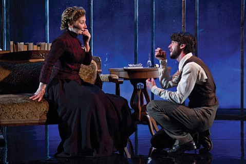 Maureen Silliman as Mrs. Alving and Wyatt Fenner as Oswald Alving in ETC's new production of Ibsen's <em>Ghosts</em>.