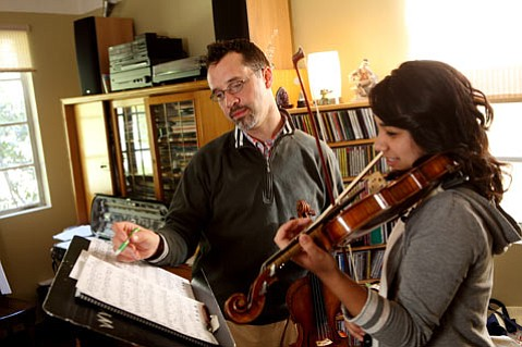 Philip Ficsor, Westmont professor of violin, and Aimee Wong '10