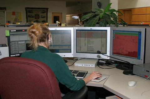 Dispatchers at work in Santa Barbara County Emergency Dispatch Center.