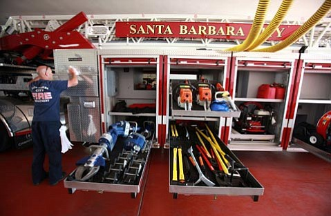 Santa Barbara City Fire Department's new ladder truck.